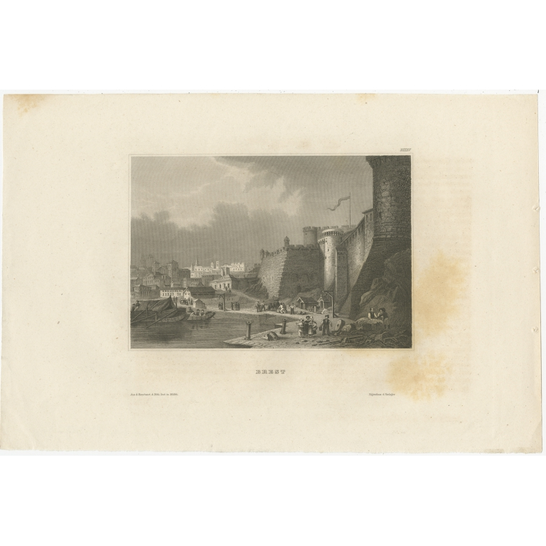 Antique Print of the city of Brest by Meyer (1844)