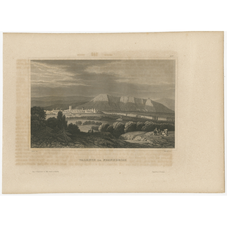 Antique Print of the City of Valence by Meyer (1848)