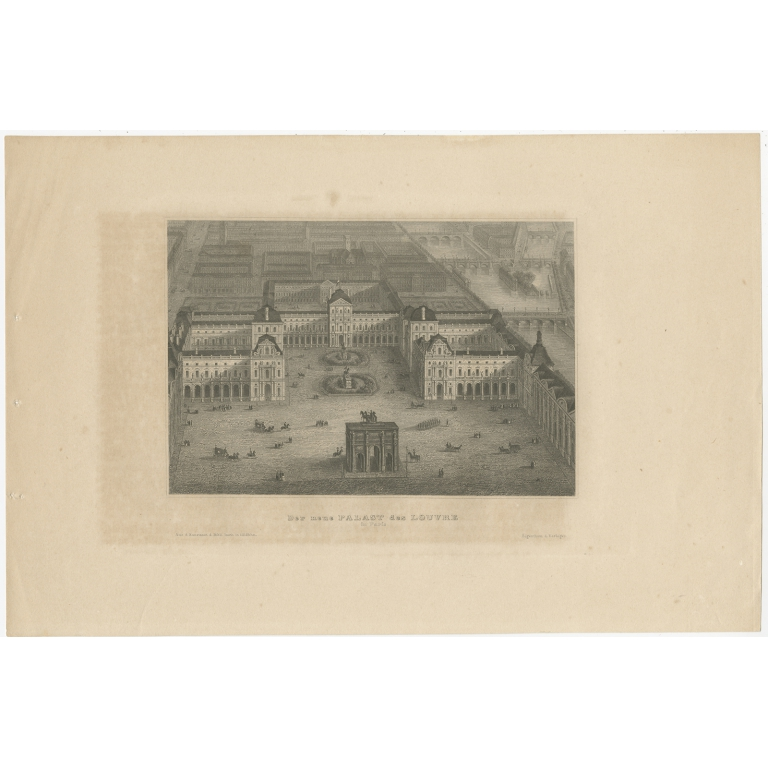 Antique Print of the Louvre Palace (c.1880)