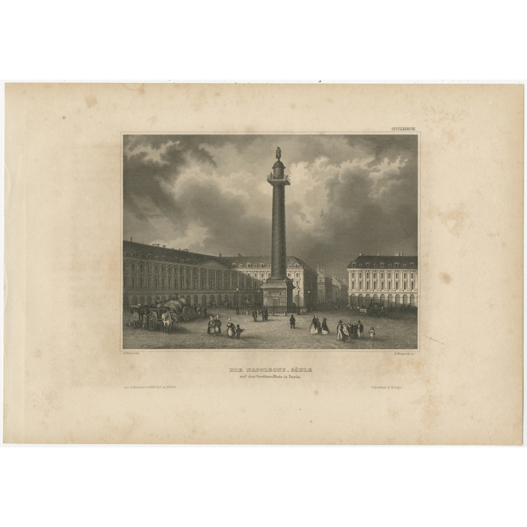 Antique Print of the Column of the Grande Armée by Meyer (1844)