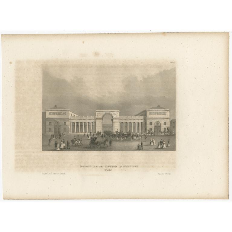 Antique Print of the Palais de la Légion d'Honneur by Meyer (1844)