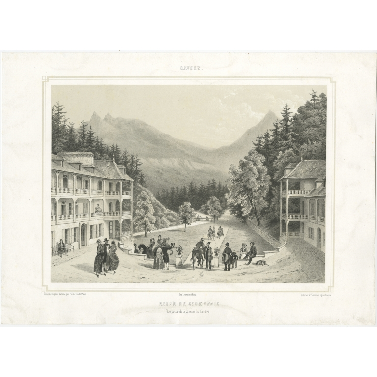 Antique Print of the Centre of Saint-Gervais-les-Bains by Cuvillier (c.1840)