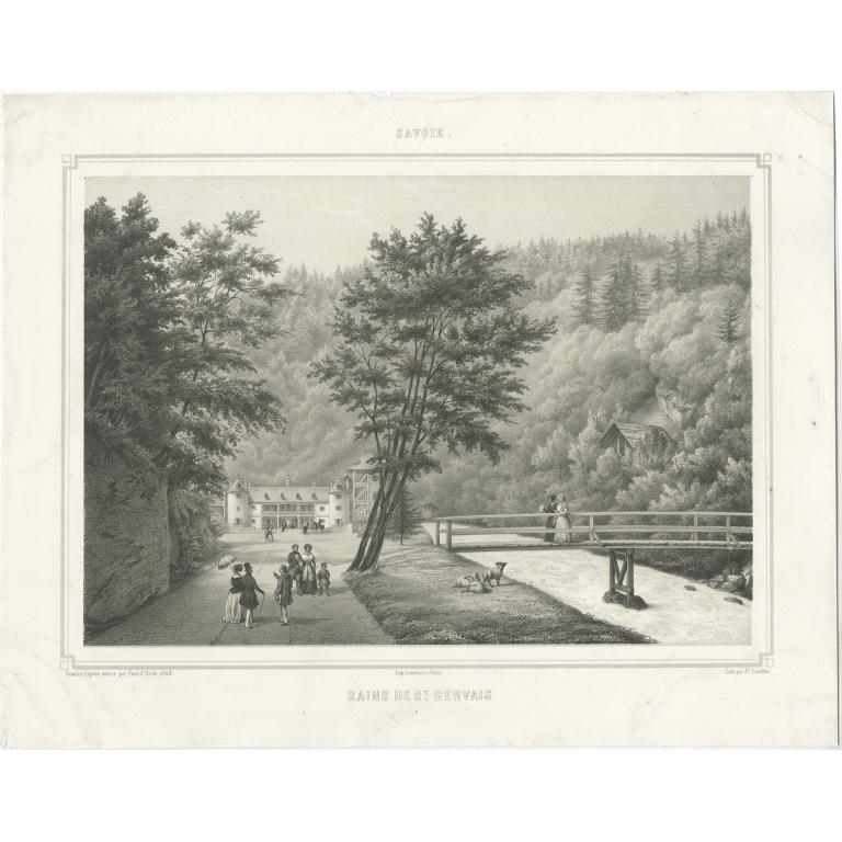 Antique Print of Saint-Gervais-les-Bains by Cuvillier (c.1840)