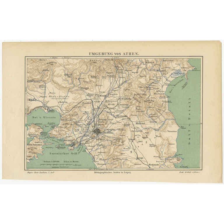 Antique Map of the Region of Athens by Meyer (c.1893)