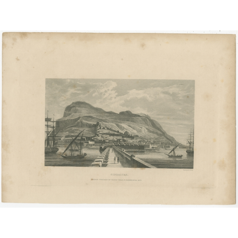 Antique Print of the Harbour of Gibraltar by Kelly (c.1840)