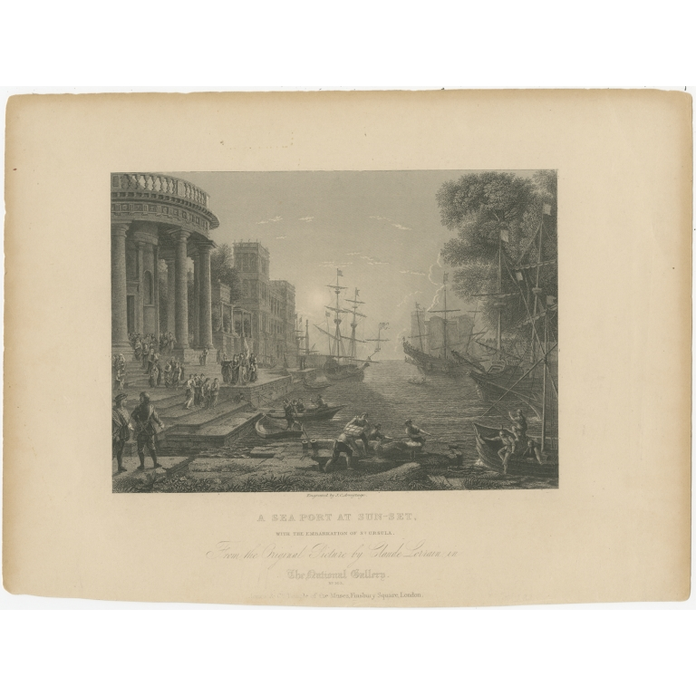 Antique Print of a Seaport with the embarkation of Saint Ursula by Armytage (1836)