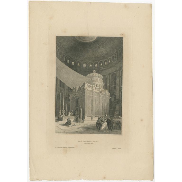 Antique Print of Jesus's Tomb in Jerusalem by Meyer (1836)