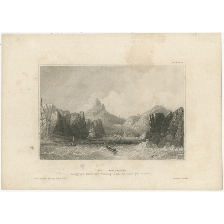 Antique Print of Longwood on St. Helena by Meyer (1840)