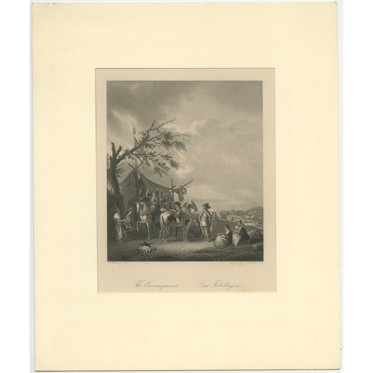 Antique Print of a Field Camp by Heawood (c.1860)