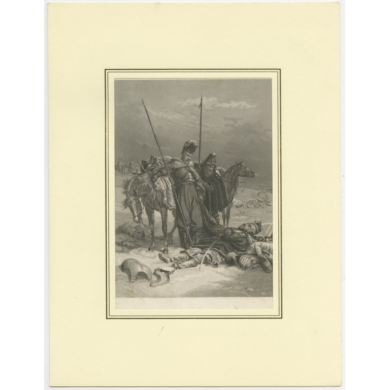 Antique Print of a Battle Scene by Wunster (c.1857)