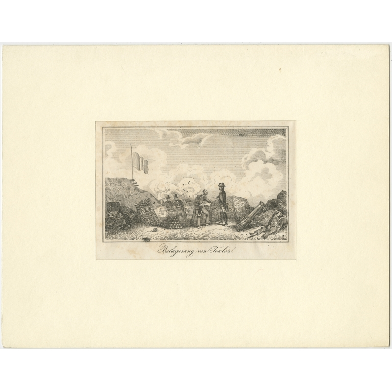 Antique Print of the Siege of Toulon (c.1820)