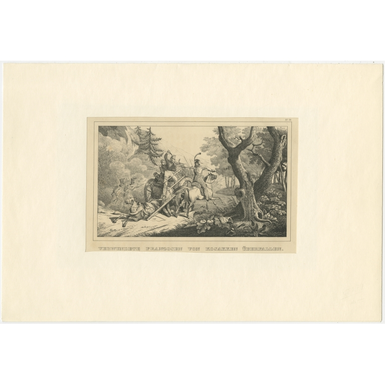 Antique Print of French Soldiers attacked by Cossacks by Steger (1845)