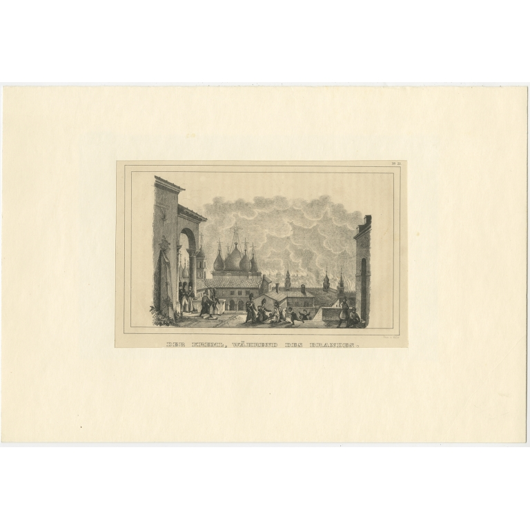 Antique Print of the Kremlin during the Fire of Moscow by Steger (1845)