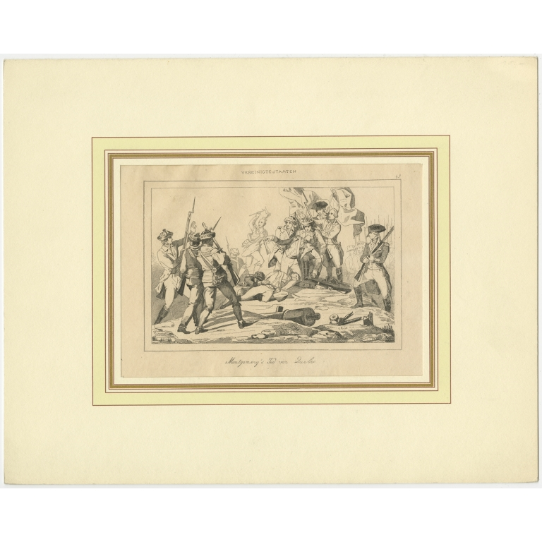 Antique Print of the Death of General Montgomery in the Attack on Quebec (c.1840)