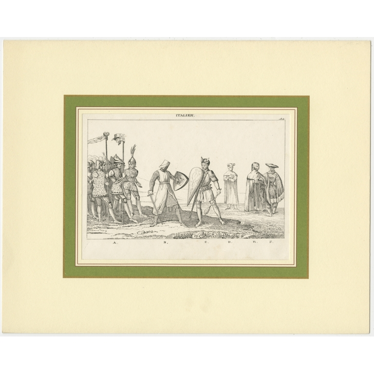 Antique Print of a Scene in Italy (c.1850)