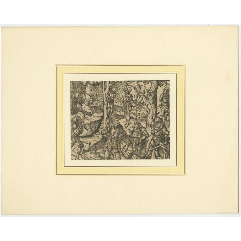 Antique Print of a Military Scene (c.1600)