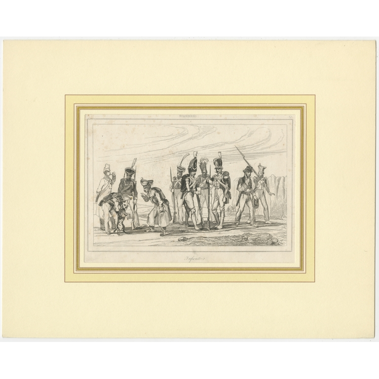 Antique Print of the Swedish Infantry (c.1870)
