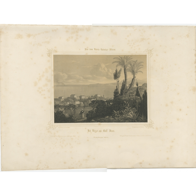 Antique Print of Nice by Arnst (c.1840)