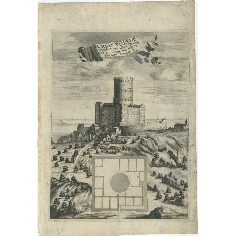 Antique Print of La Turbie and the Tropaeum Alpium (c.1760)