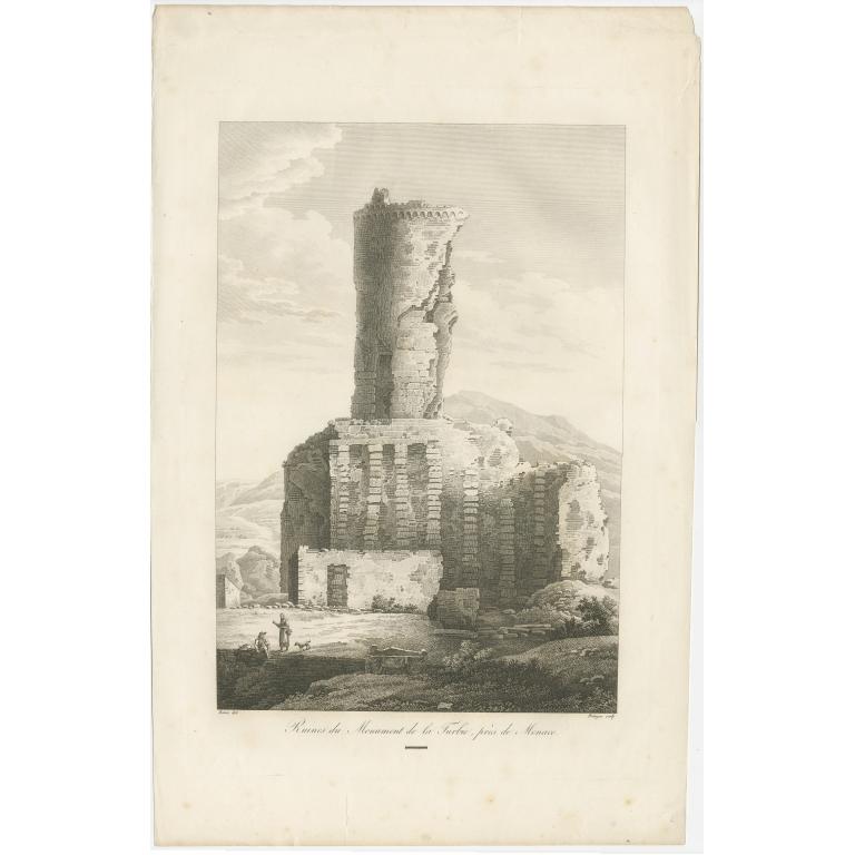 Antique Print of the Tropaeum Alpium by Piringer (c.1780)