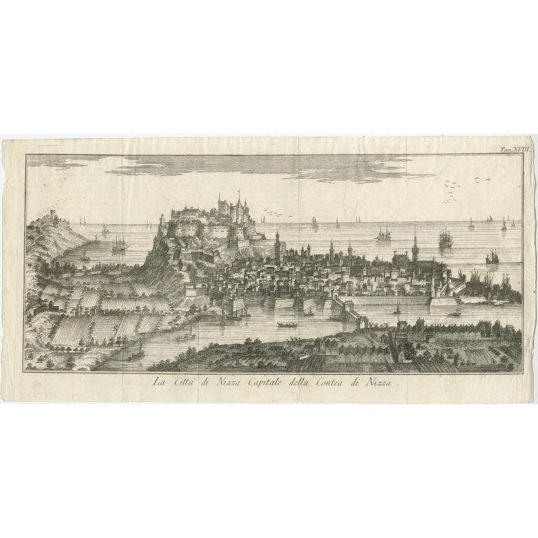 Antique Print of the city of Nice by Salmon (1751)