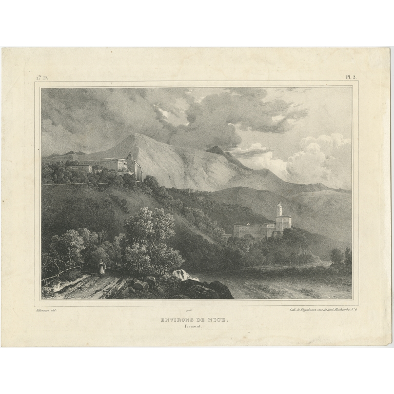 Antique Print of the region of Nice by Engelmann (c.1840)