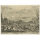 Antique Print of a Landscape with Military Encampent by Von Prenner (c.1730)