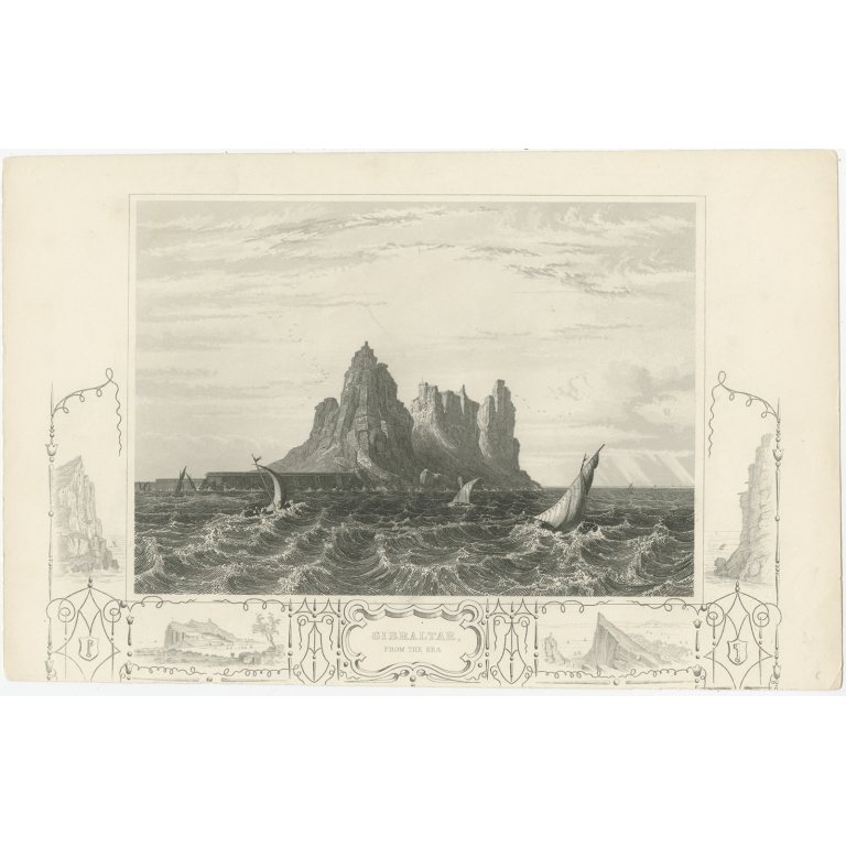 Antique Print of Gibraltar by Tyrrell (1858)