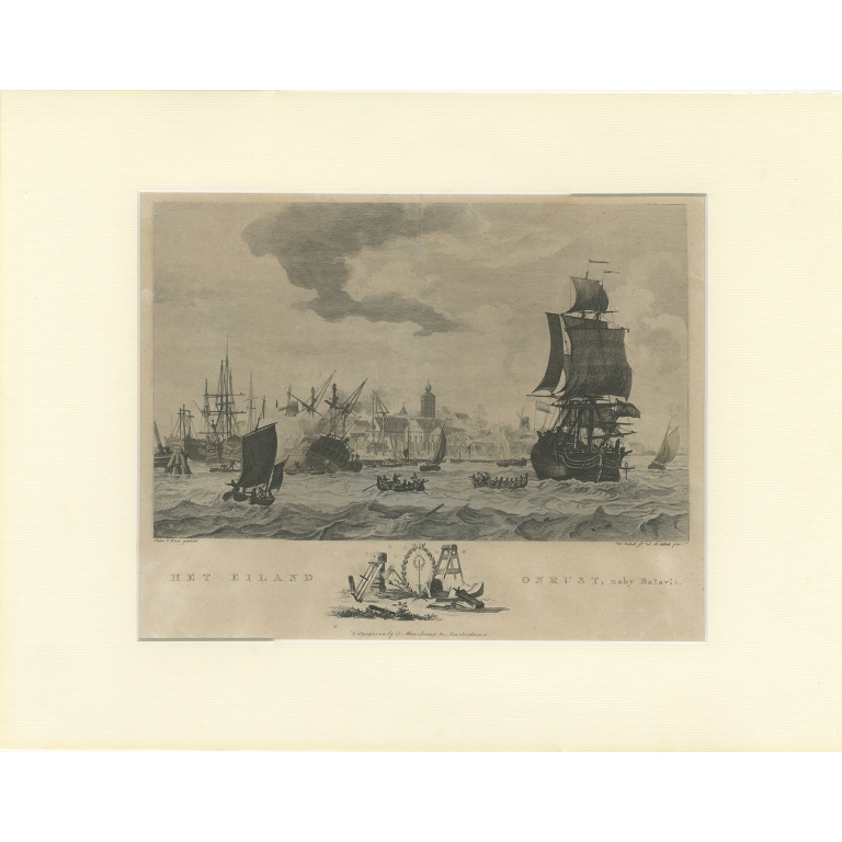 Antique Print of Ships near Onrust Island by Maaskamp (c.1780)