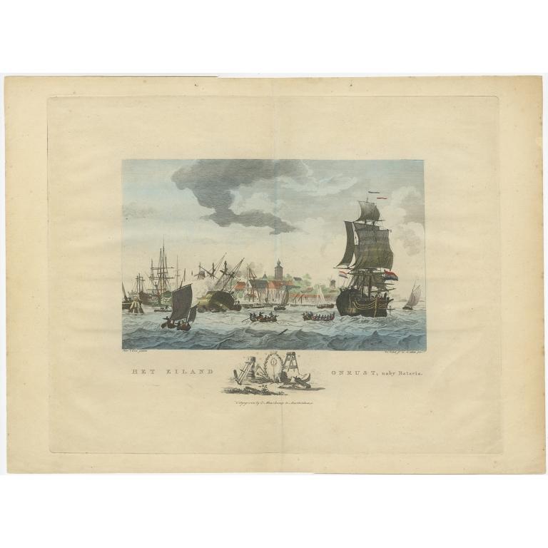 Antique Print of Ships near Onrust Island by Maaskamp (c.1805)