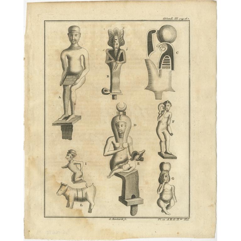 Antique Print of various Statues by Van Dùren (1749)