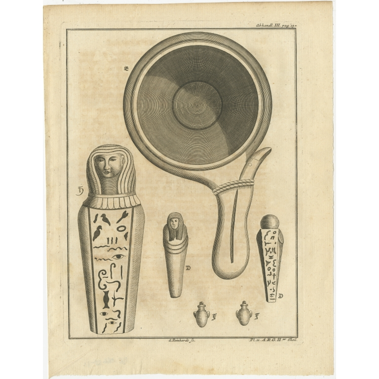 Antique Print of various Objects by Van Dùren (1749)