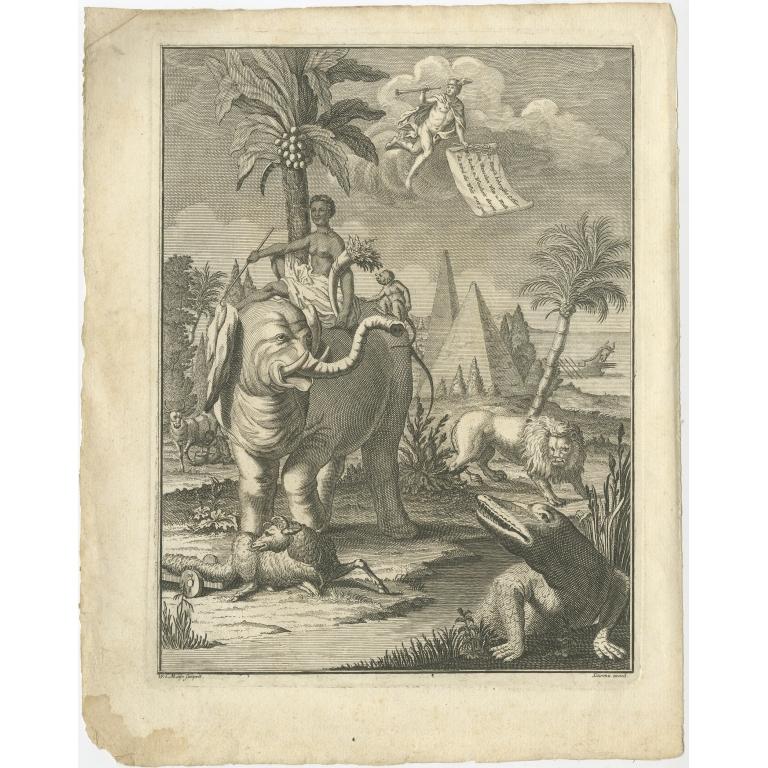 Antique Frontispiece with Animals by Van Dùren (1749)