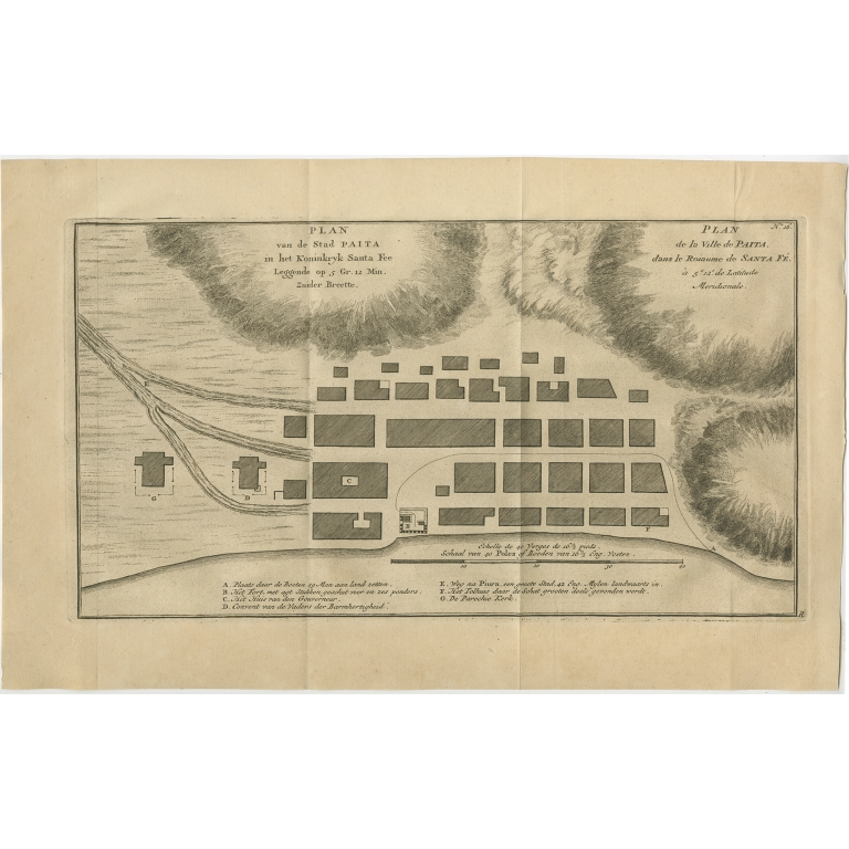 Antique Plan of the city of Paita by Anson (1749)