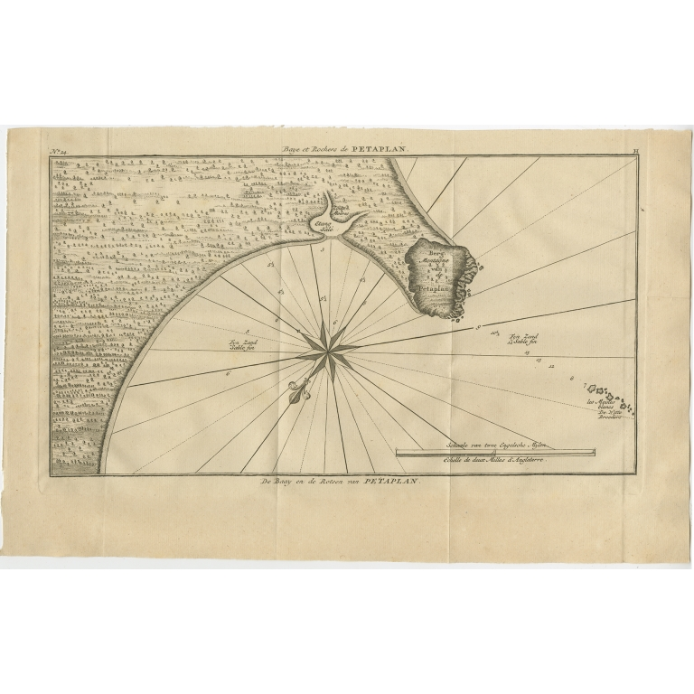 Antique Map of the Bay and Rocks of Petatlan by Anson (1749)