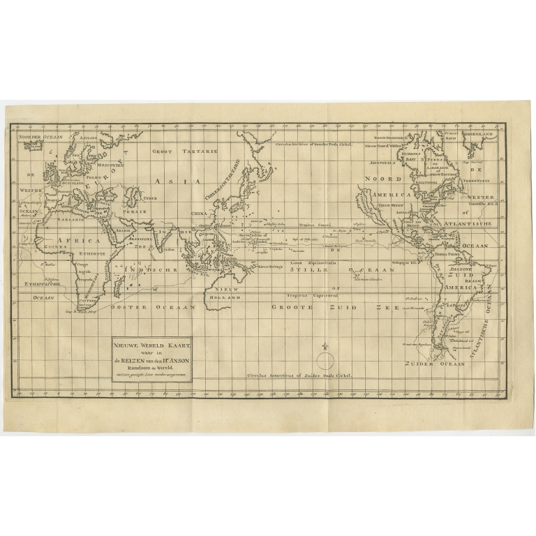 Antique Map of the World by Anson (1749)