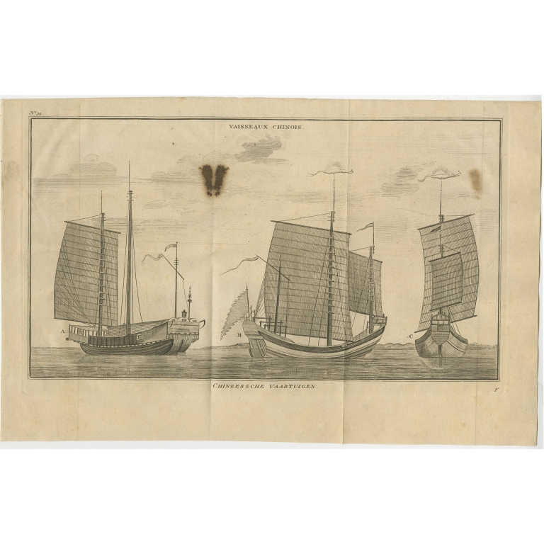 Antique Print of Chinese Vessels by Anson (1749)