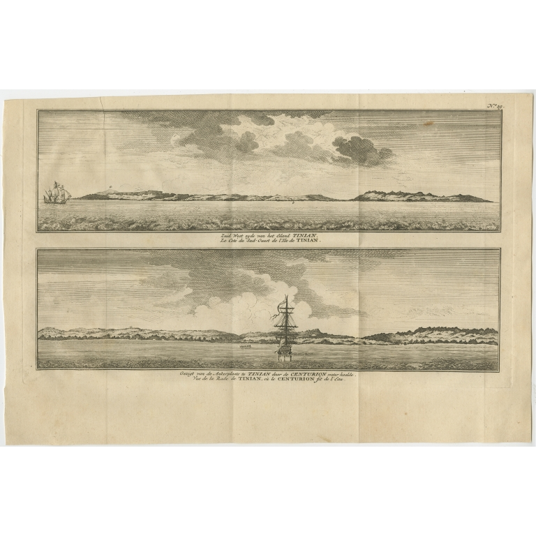 Antique Print with views of Tinian Island by Anson (1749)