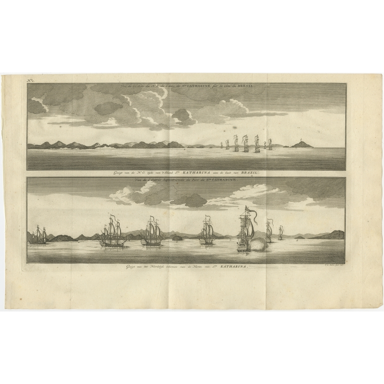 Antique Print with views of Santa Catarina Island by Anson (1749)