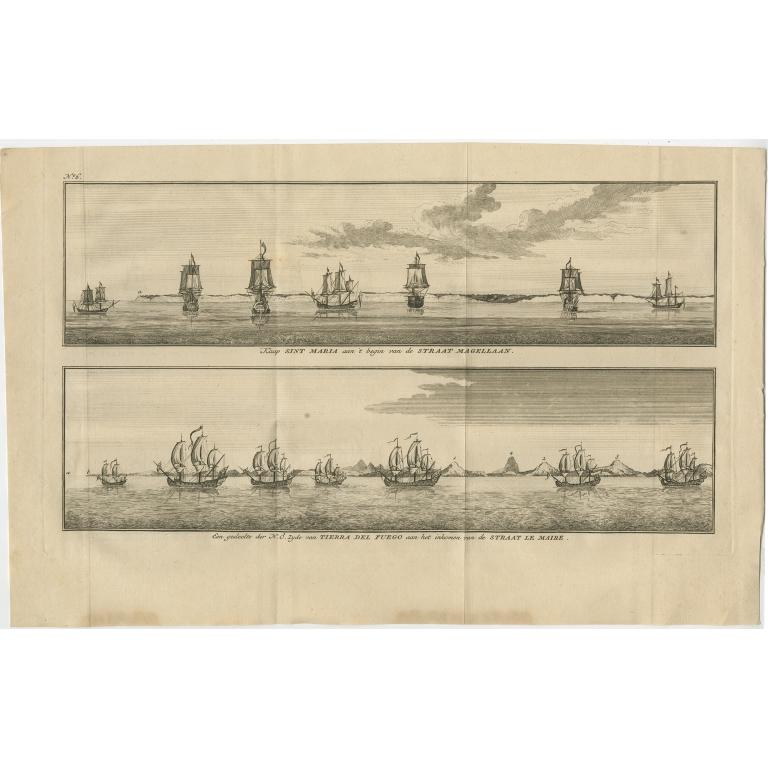 Antique Print with views of Cabo Santa Maria and Tierra del Fuego by Anson (1749)