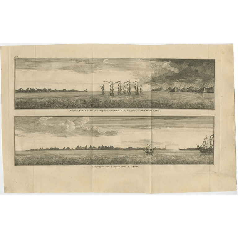 Antique Print with views of Staten Island and Tierra del Fuego by Anson (1749)