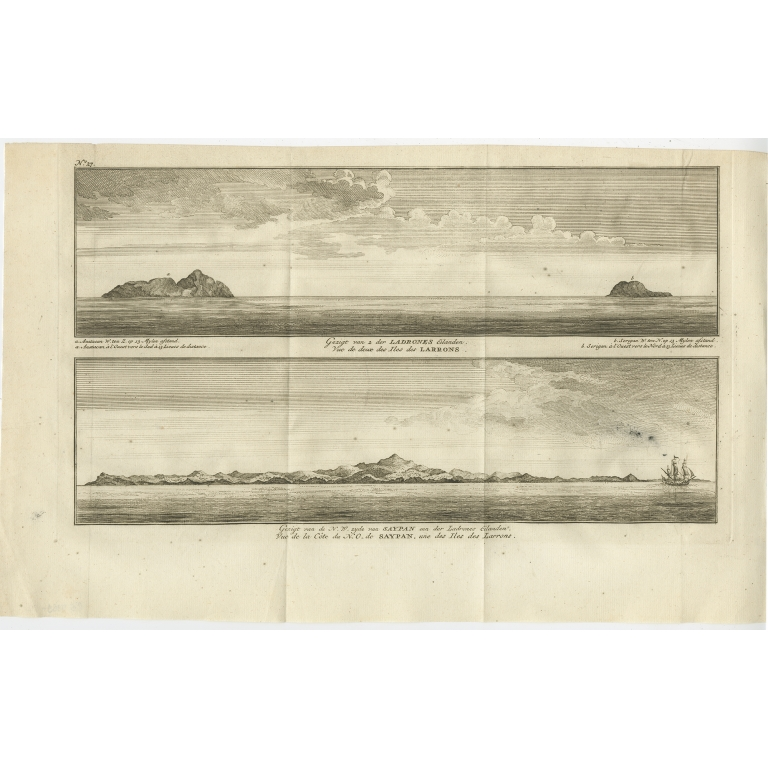 Antique Print with views of the Ladrones Islands and Saipan by Anson (1749)