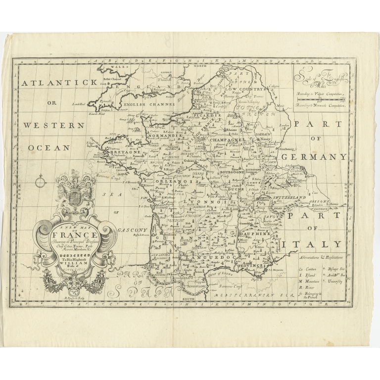 Antique Map of France by Wells (c.1710)