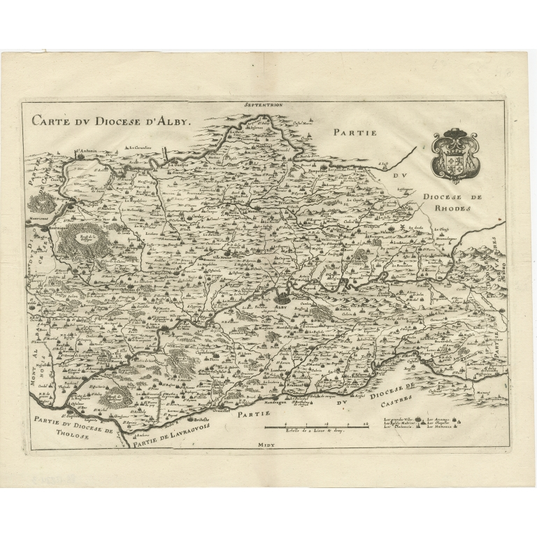 Antique Map of the region of Albi by Merian (1663)