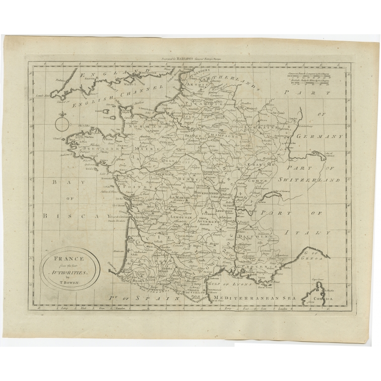 Antique Map of France by Bowen (c.1790)