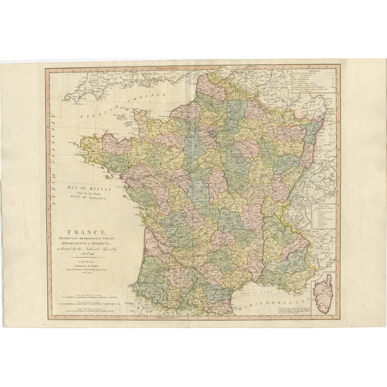 Antique Map of France by Faden (1792)