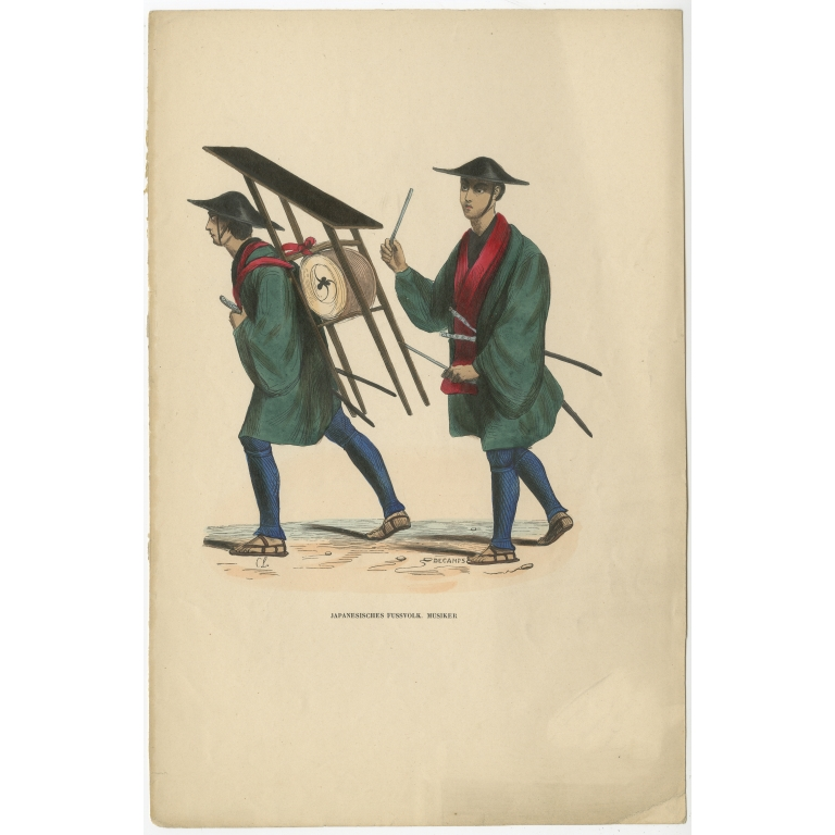 Antique Print of Japanese Infantry Musicians by Berghaus (c.1845)