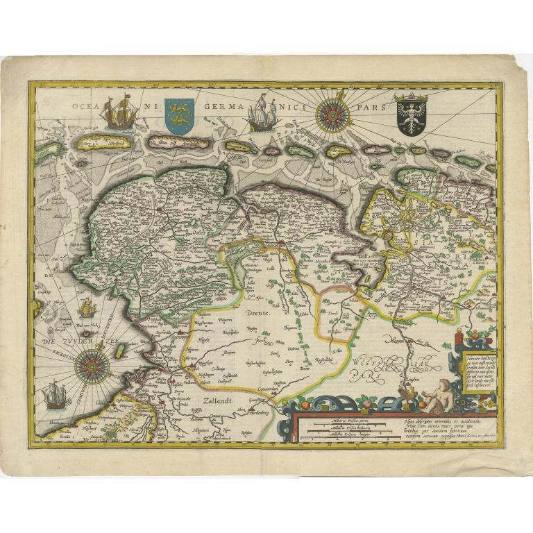 Antique Map of Friesland by Van den Keere (1617)