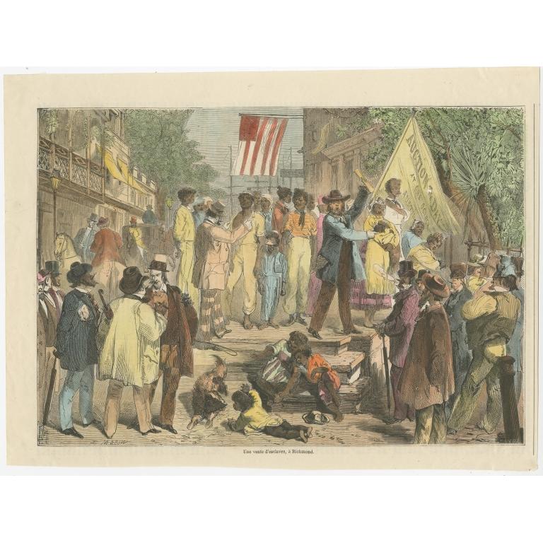 Antique Print of a Slave Auction in Richmond (1861)