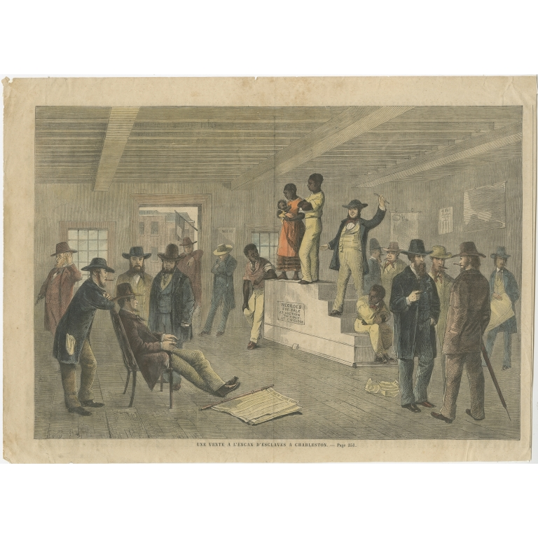 Antique Print of a Slave Auction in Charleston (c.1860)